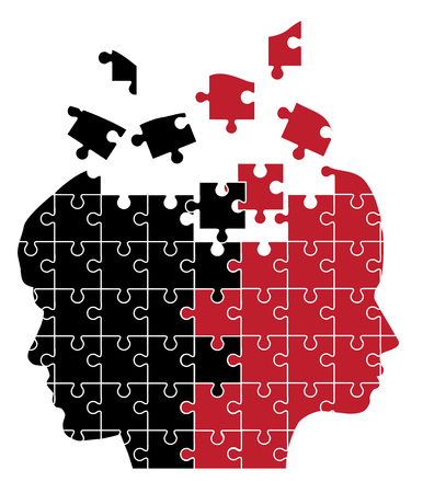 black man thinking: vector illustration of man and woman head silhouette puzzle Illustration