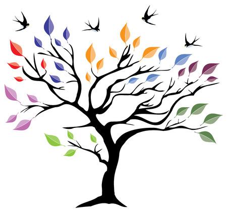 色鮮やかな葉と空飛ぶツバメ ツリーのベクトル図