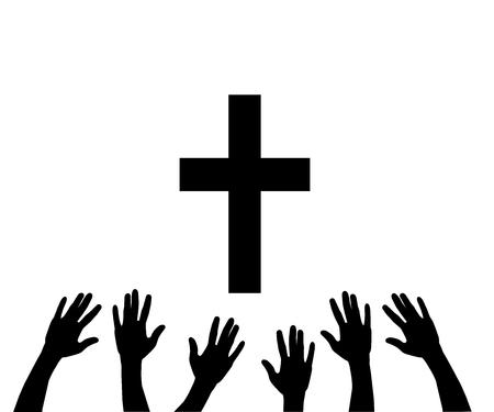 Vektorillustration von betenden Händen und von Kreuz. Standard-Bild - 85140849