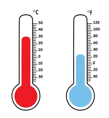 vector illustration of temperature thermometers isolated on white background 矢量图像
