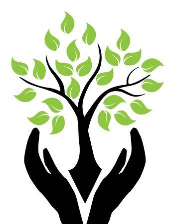 Illustration of hands holding tree. Illustration
