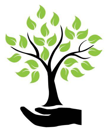 Illustration of hands holding tree. Ilustrace