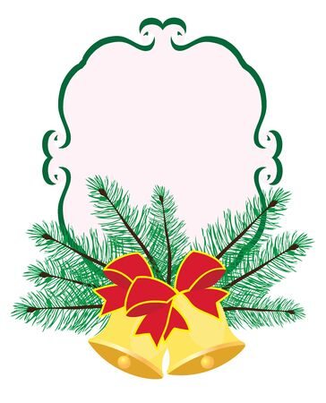 Vector illustration of Christmas frame with bells and tree branches Illustration