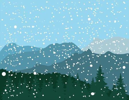 vector illustration of mountain landscape in winter Иллюстрация