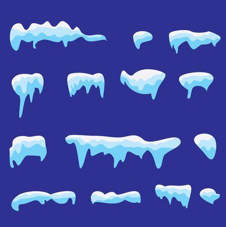 격리 된 스노우 커버 집합의 벡터 일러스트 레이 션. 겨울 배경 눈 덮인 요소입니다. 만화 스타일의 벡터 템플릿입니다.
