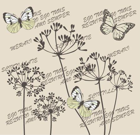 나비와 식물 플로랄 패턴의 벡터 일러스트 레이 션. 식물 꽃, 나비, 베개 던져. 나는 너를 영원히 사랑하고 라틴어 텍스트로 사랑스러운 것을 너를 사랑해. 그리고 사랑과 열정, 그리고 많은 영혼으로 그것을하는 것을 의미하는 헬라어 단어 Meraki.
