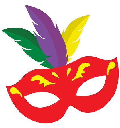 Vector illustration of ornate Venetian carnival mask with colorful feathers. Mardi gras background.