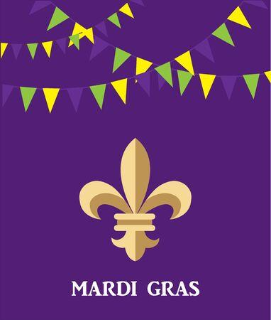 Illustration of mardi gras fleur de lis symbol on purple background.