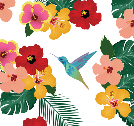 vector illustration of tropical background with flowers, palm leaves and hummingbird