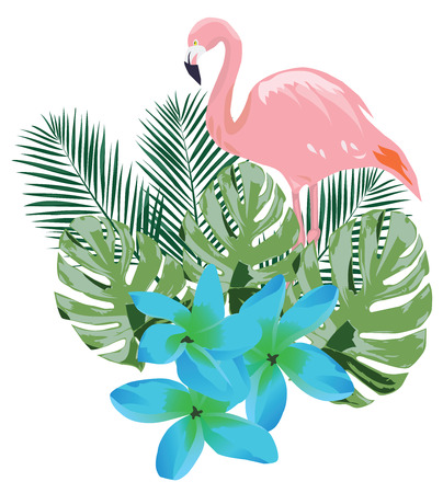 Flamingo with tropical flowers and leaves vector illustration. Illustration