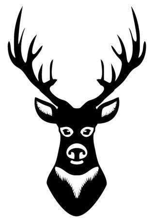 Deer head silhouette with antlers vector illustration. Stock Vector - 99940272