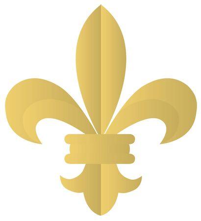 Golden fleur de lis isolated on white background vector illustration. Illusztráció