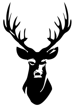 Deer head silhouette with antlers vector illustration. Illustration