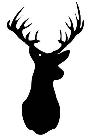 Cabeza de ciervo silueta ilustración vectorial.