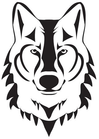 Vektorillustration einer Wolfskopfschattenbild Vektorgrafik