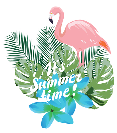 vector illustration of summer time with flamingo, tropical leaves