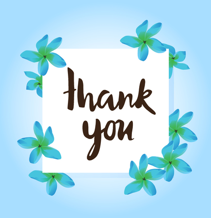 vector illustration of thank you card with tropical flowers