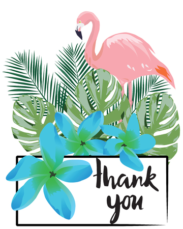vector illustration of thank you card with flamingo, tropical flowers, leaves