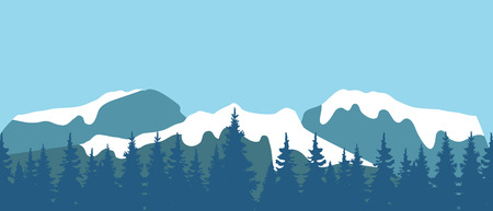 Vector illustration of mountain landscape with tree forest nature background