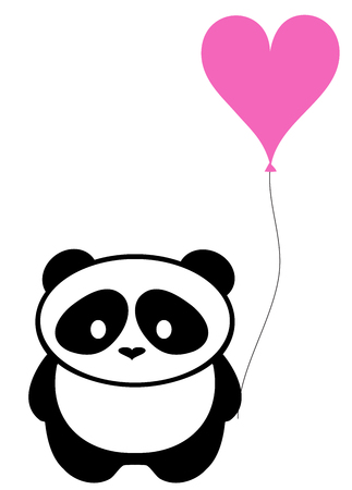 vector illustration of cute panda bear with pink heart balloon