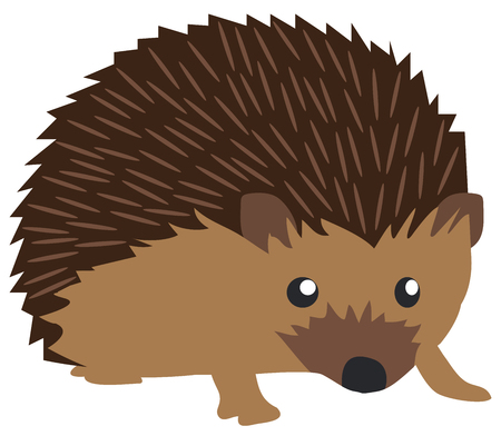 vector illustration of a cute hedgehog isolated on white background Vettoriali