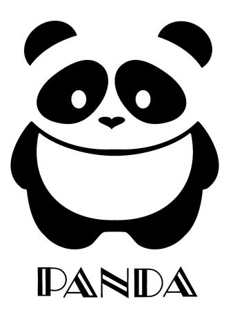 Vector illustration of cute panda bear silhouette. Logo design template. Funny lazy Panda animal icon logotype concept. Vettoriali