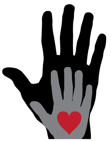 vector illustration of hands with red heart on white background. giving hand vector Vectores