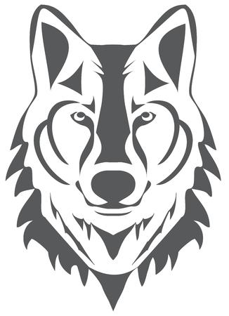 illustrazione vettoriale di una silhouette testa di lupo Vettoriali