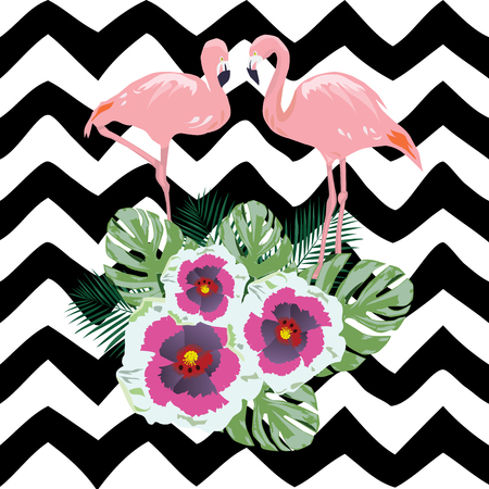 vector illustration of tropical background with flamingo, flowers Illustration