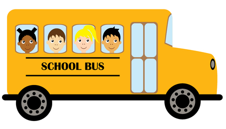 vector illustration of yellow schoolbus transportation education background. kids riding schoolbus. Ilustracja