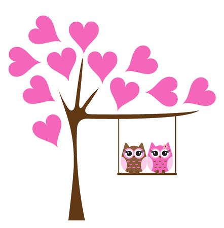 vector illustration of owls swinging in the tree. tree with pink hearts.