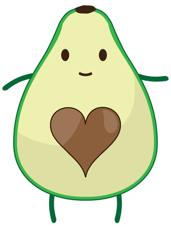 vector illustration of an avocado fruit with a heart