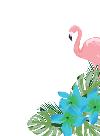 vector illustration of a flamingo and blue tropical flowers Illustration