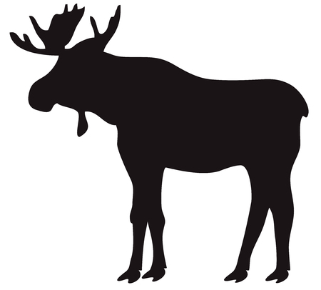 vector illustration of a moose silhouette isolated on white background.