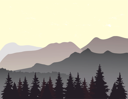 Mountain landscape flat nature design.