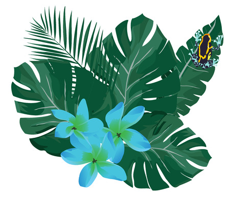 Tropical palm leaves, flowers and poison dart frog
