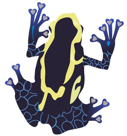 illustrazione vettoriale di una silhouette di rana dardo velenoso.