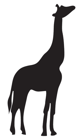 Giraffe silhouette isolated on white