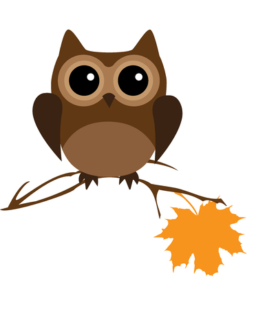 vector illustration of a woodland animal cartoon. owl in the tree branch.