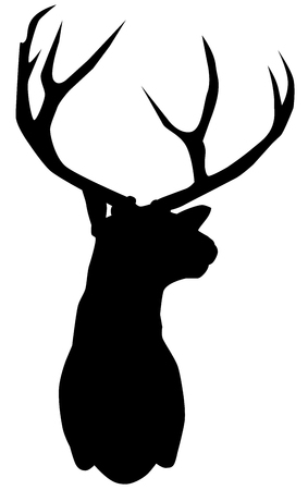 vector illustration of a deer head silhouette isolated on white background. Illustration