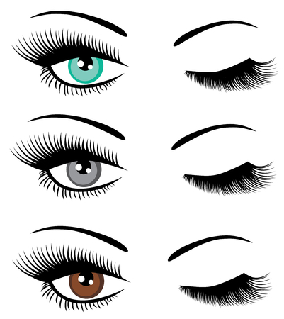 vector illustration of set of beautiful eyes with long lashes winking.