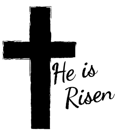 A cross with He is Risen text.