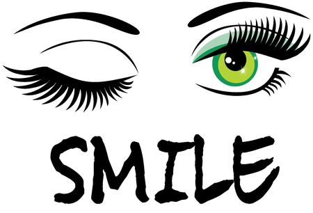 Ilustración vectorial de ojos verdes guiñando un ojo con texto de sonrisa. Ilustración de vector