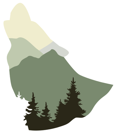 A wolf howling. wolf, animal head silhouette with abstract forest