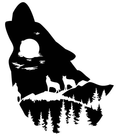 Head silhouette with mountains, wolves, forest.