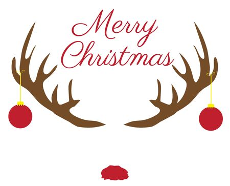 Christmas antlers with red nose. Stock Illustratie