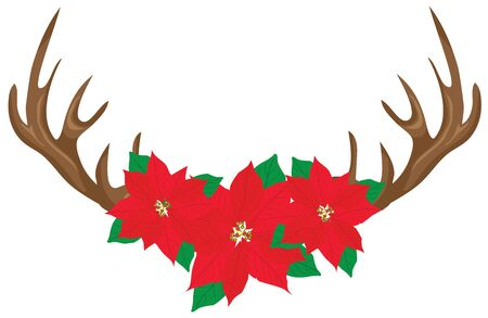 Deer antlers with poinsettias. Christmas antlers. Stock Illustratie
