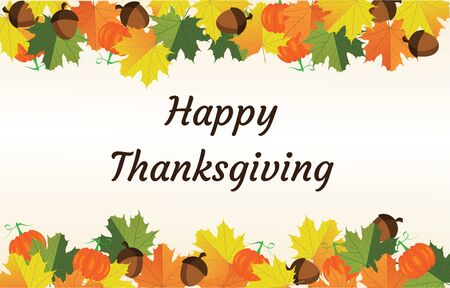 Thanksgiving card with fall leaves.