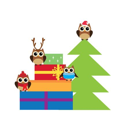 vector illustration of Christmas boxes and cute animals.