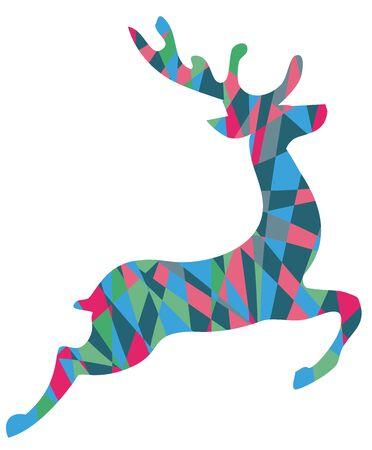 vector illustration of a mosaic Christmas reindeer. Christmas card.